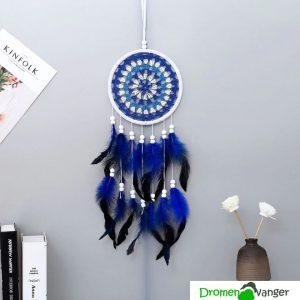 621 dromenvanger gehaakt wit met blauw