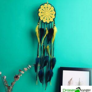 723 dreamcatcher geel zwart gehaakt web