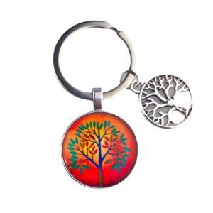 316 sleutelhanger Glas tree of life - oranje