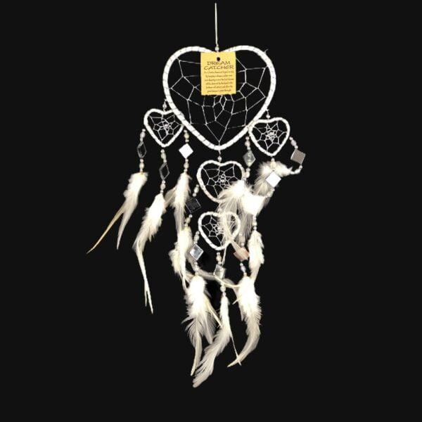 512 dromenvanger hart - 5 hartjes dreamcatcher - zilver met wit - 11 cm Silver Love