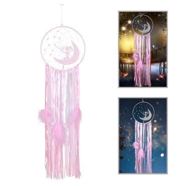 739 dromenvanger elf - elfjes - roze - glitter - glittertjes